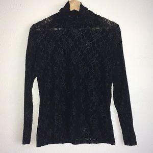 Yansi fuguel lace nylon turtleneck top Sz M